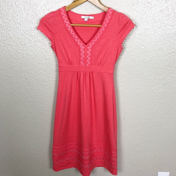 Boden Dresses Salmon Short Sleeve Dress With Embroidery Poshmark